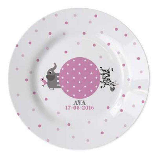 geboortebordje met naam meisje- baby plate with name for girl