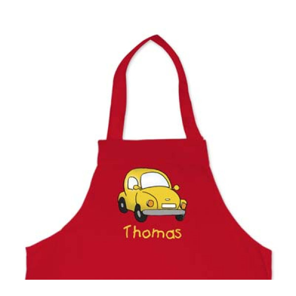 leuk kinderschort met naam en auto - cool apron with car and name of the kid