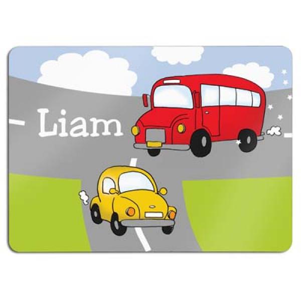 leuke placemat met auto en bus en de naam van het kind- fun placemats for kids with a name